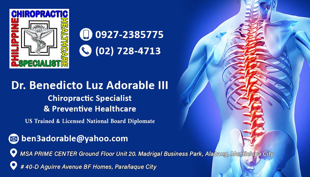 Calling card of Chiropractic Specialist Dr. Benedicto Luz Adorable III