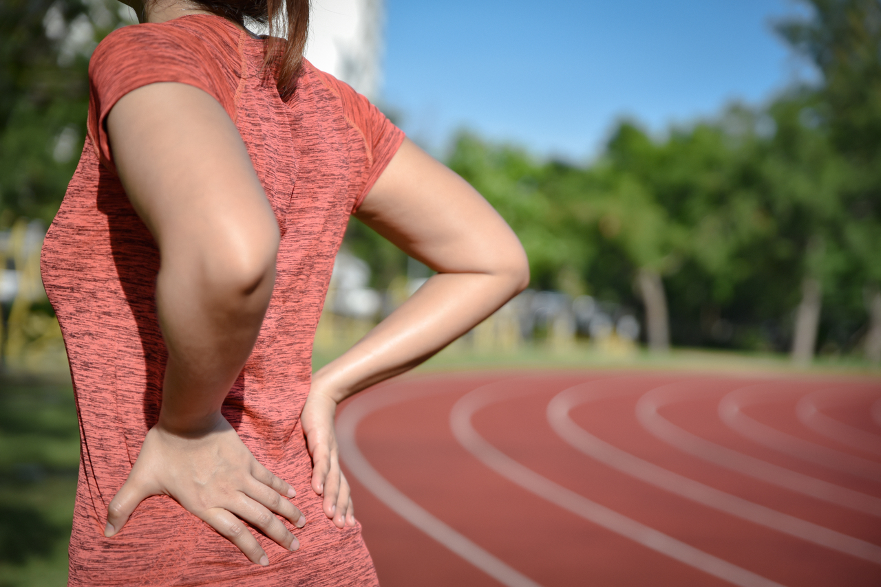 An athlete experiencing back pain