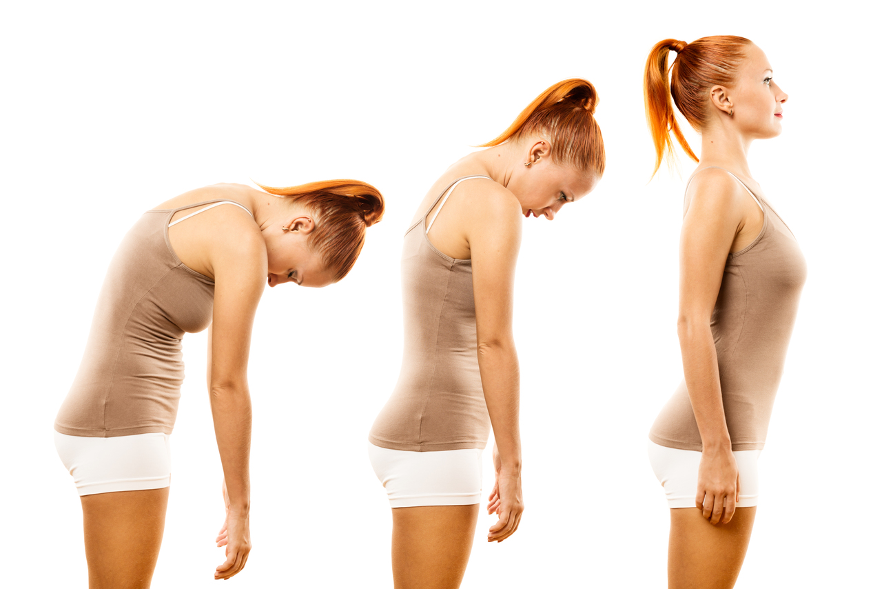 A girl with progressively better posture