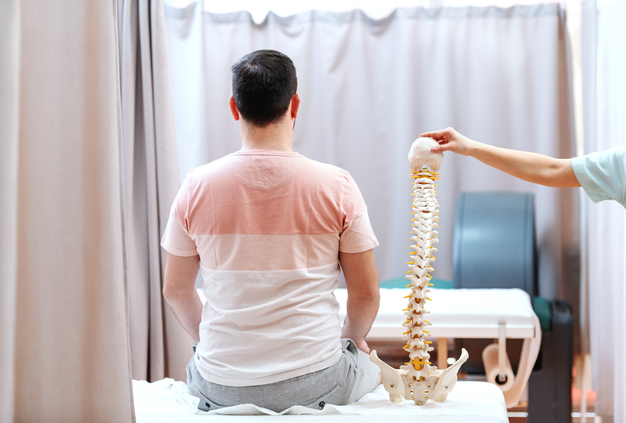 A doctor holding up a spinal model
