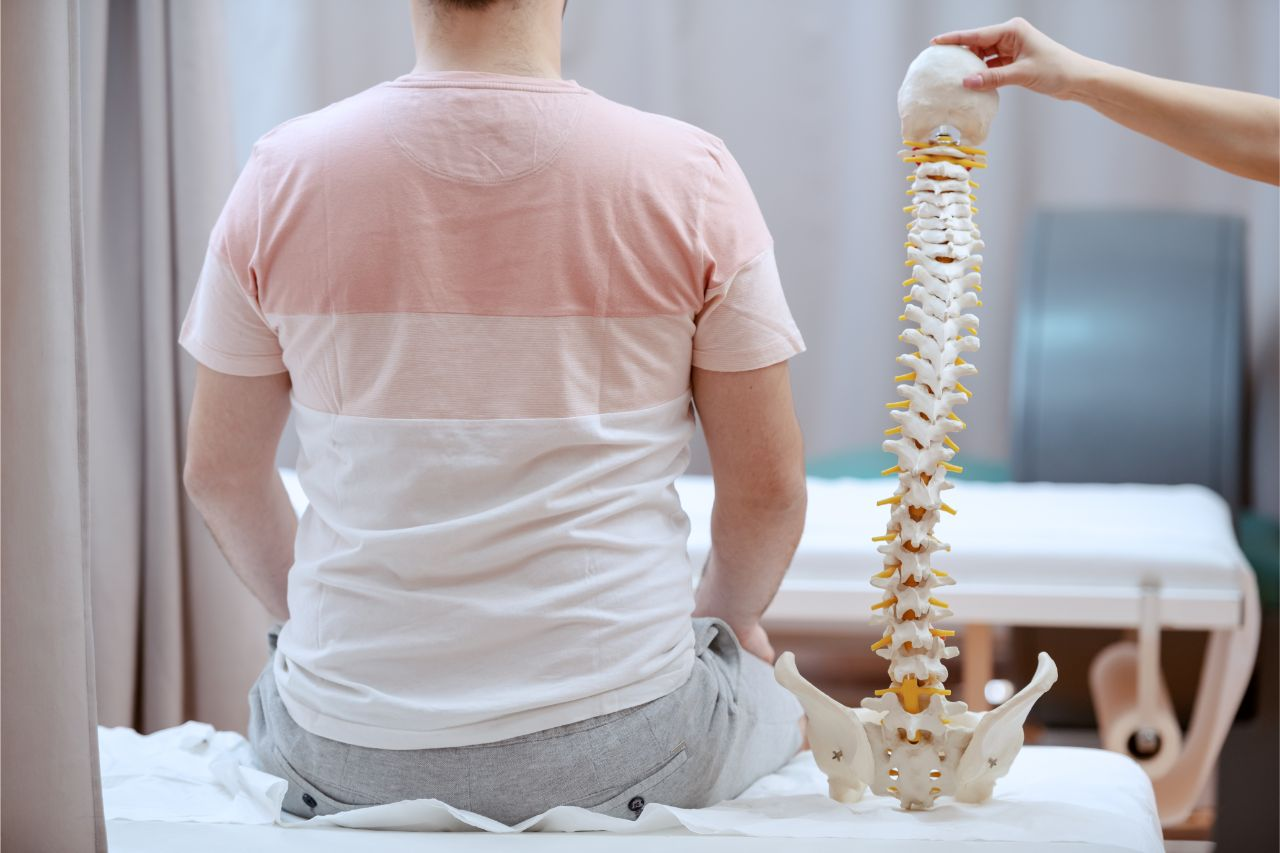 A man with a 3D spine model